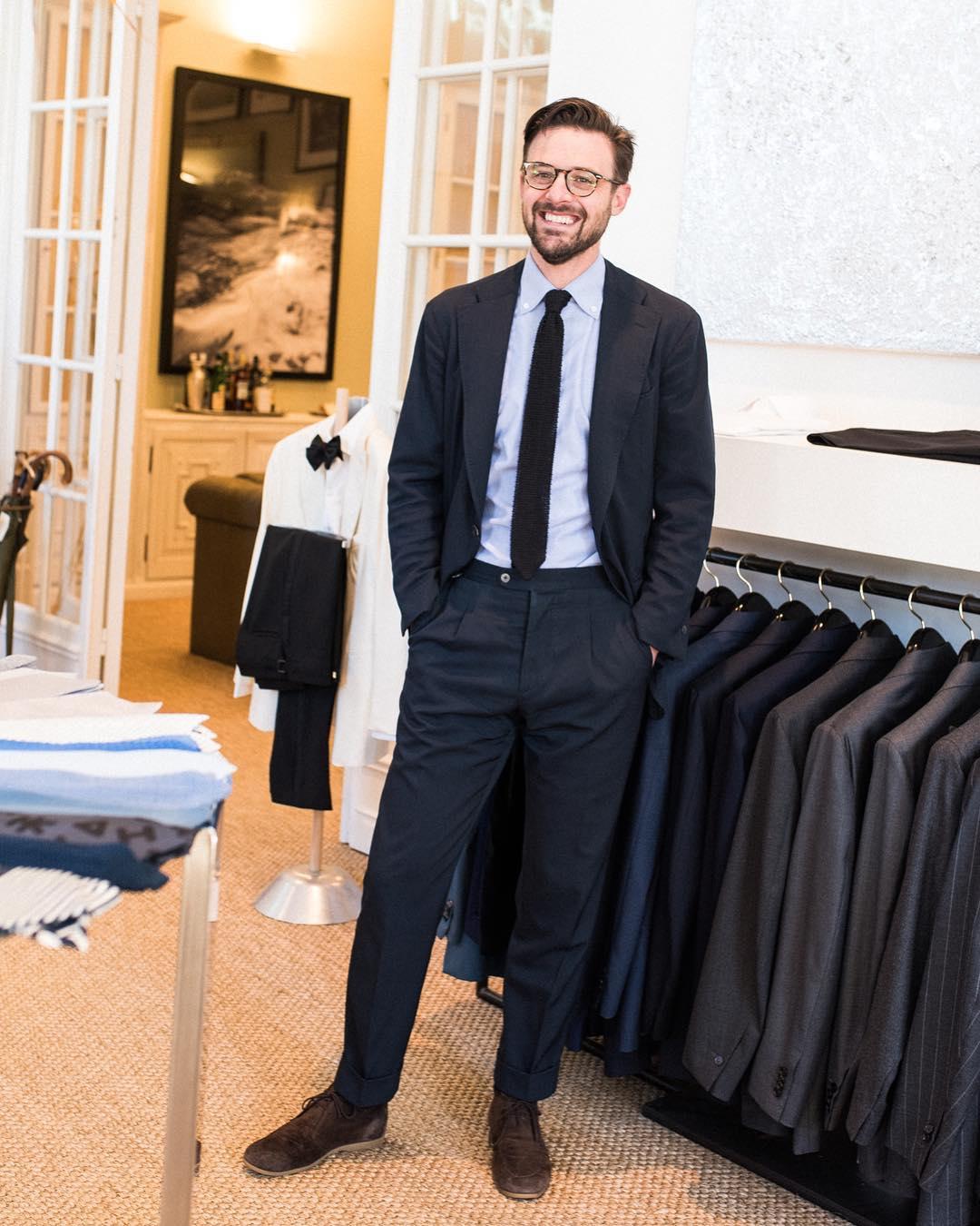Wedding Suit - P Johnson Tailors Black Suit with Black Tie