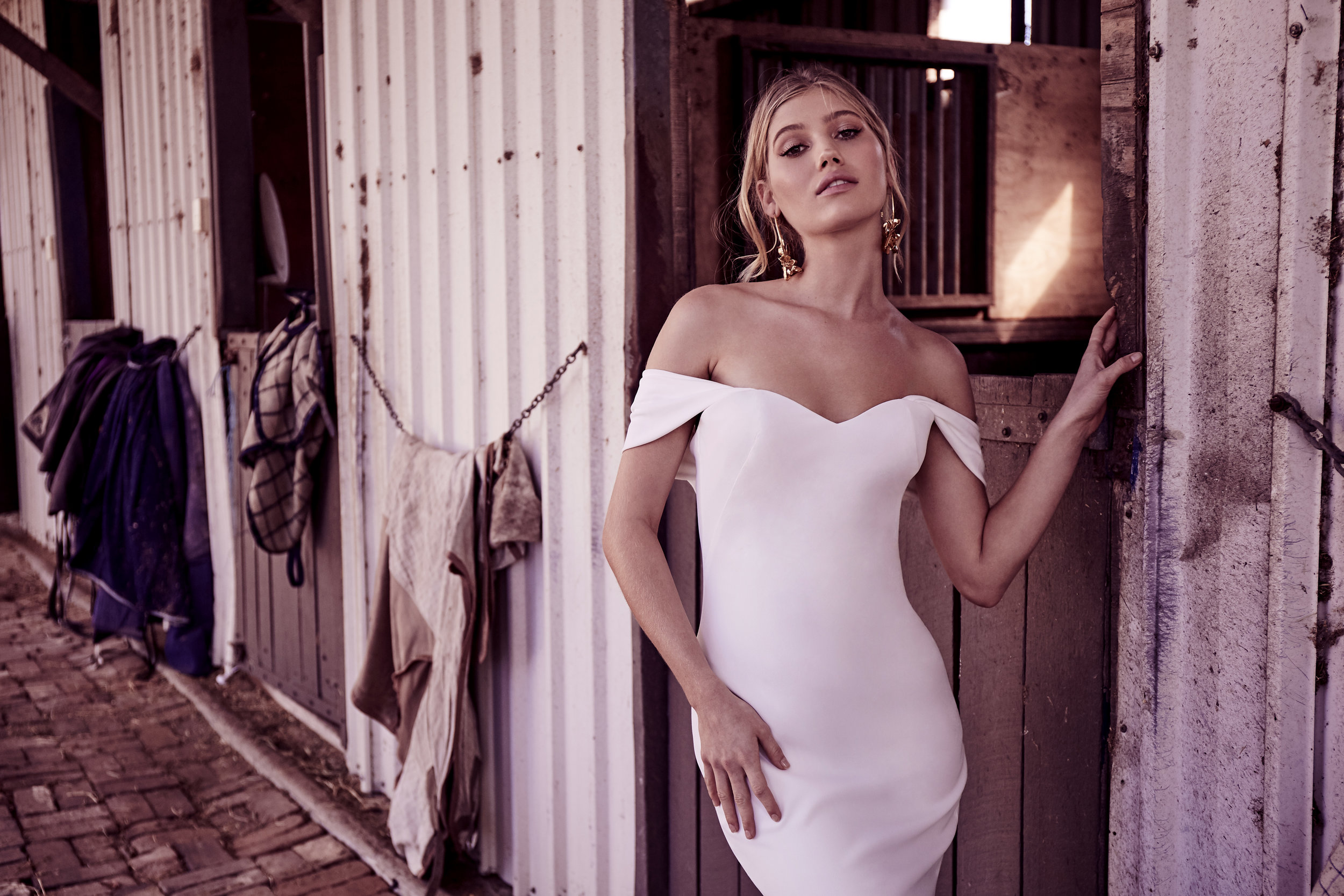 Wedding Dresses - Off Shoulder White Cotton Dress