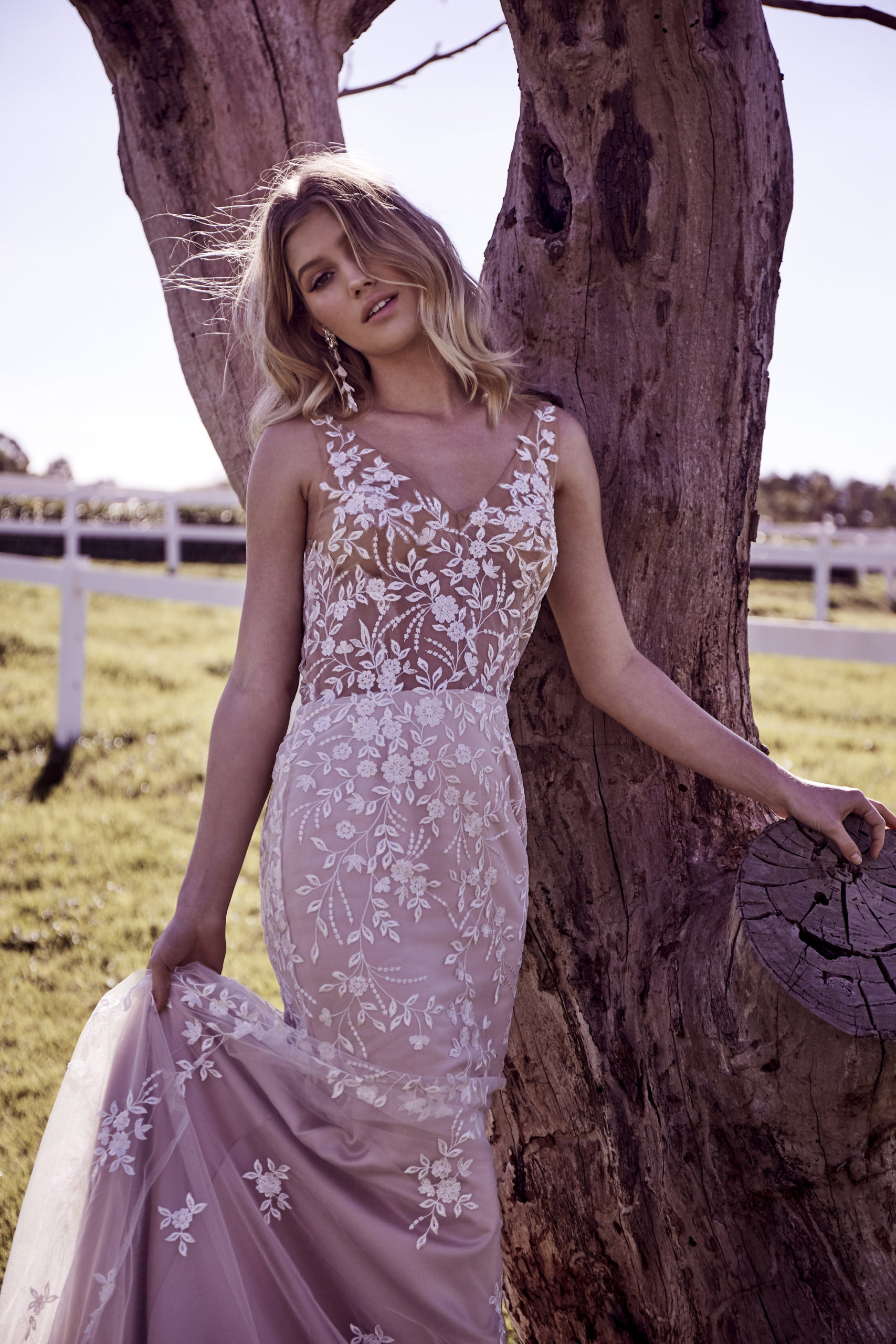 Wedding Dresses - White Embroided Wedding Dress Leaning on a Tree
