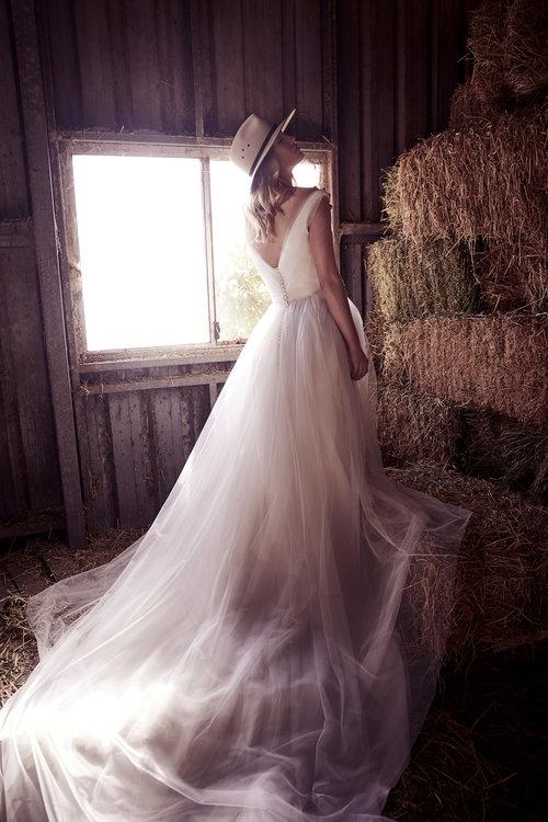 Wedding Dresses - Open Back White Wedding Long Gown