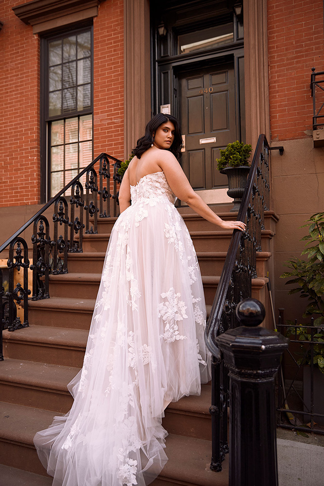 Wedding Dresses - Bride in Wedding Dress on Staircase