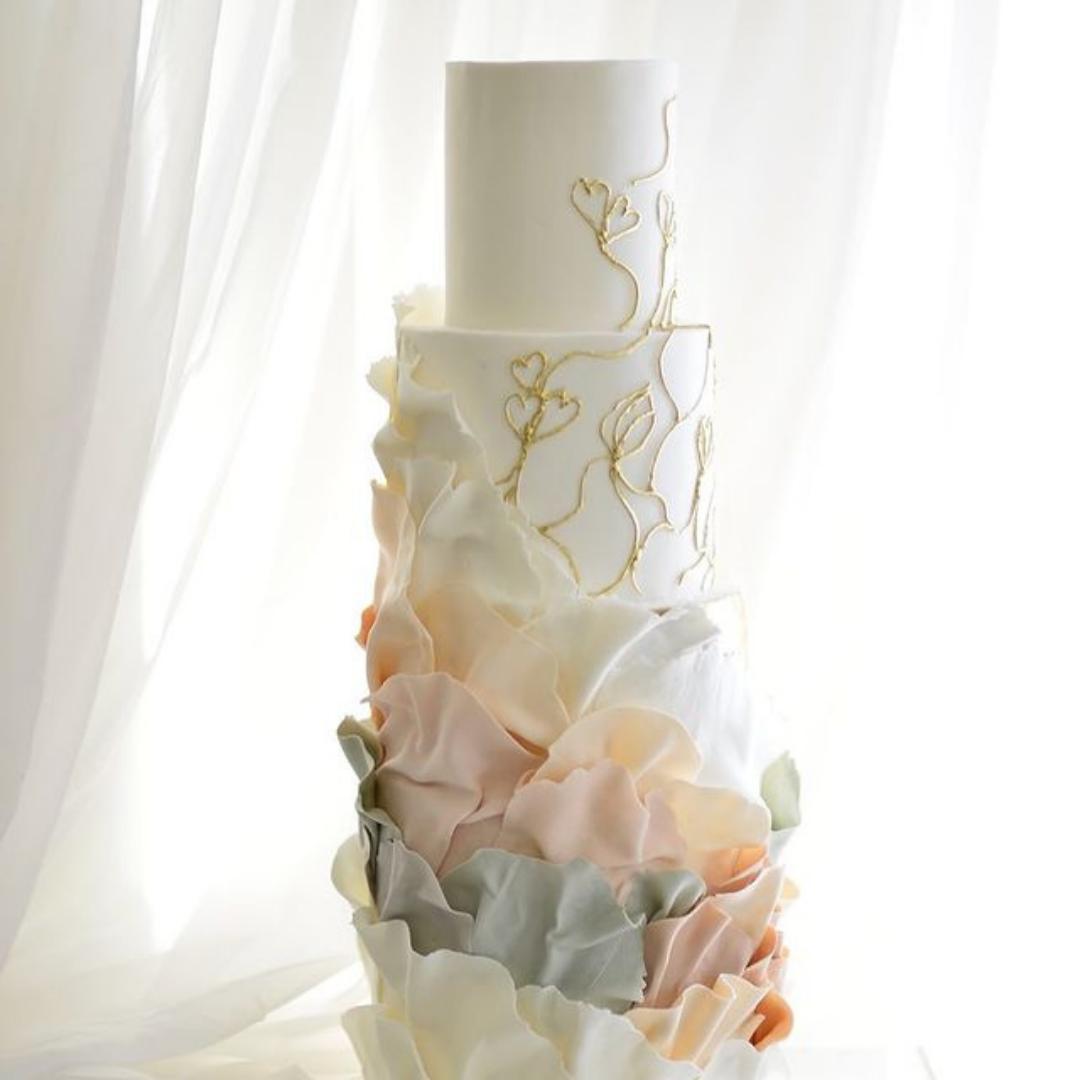 The Bad Baker textured wedding cake