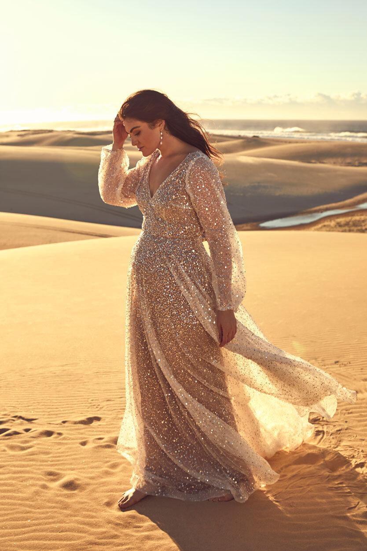 Wedding Dresses - Glittery Wedding Dress in Desert