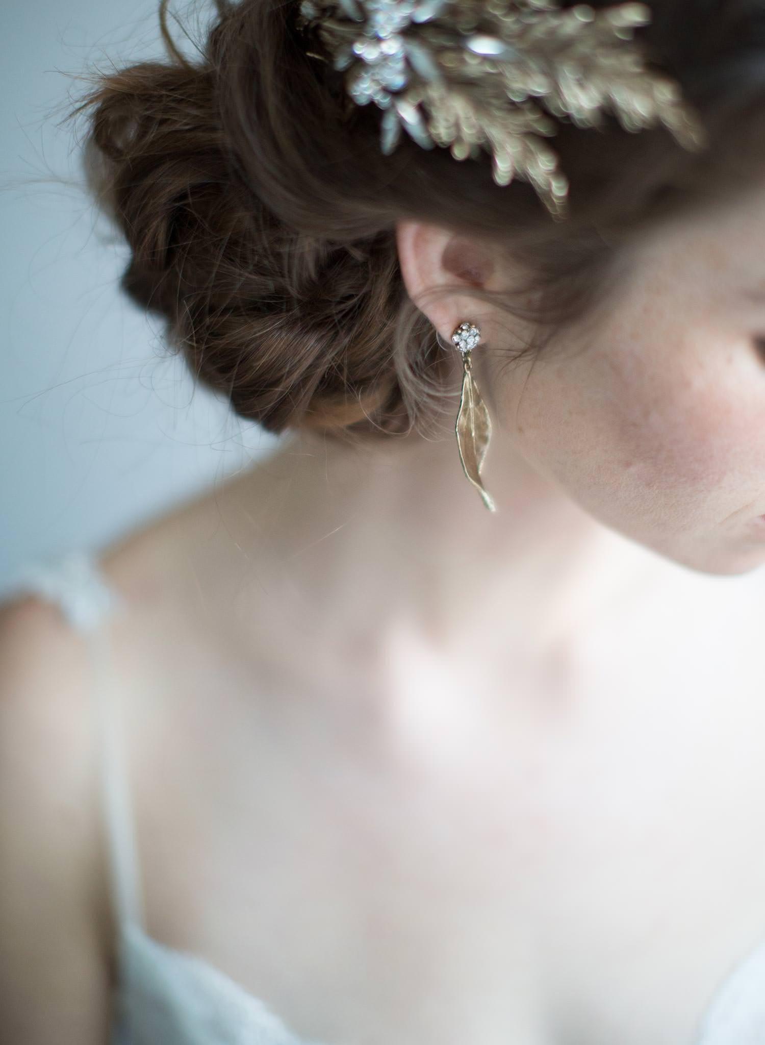 gold leaf wedding earring