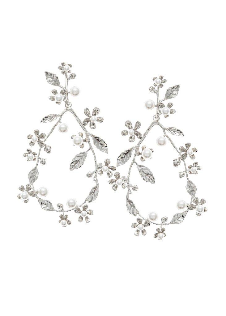 silver chandelier earring wedding