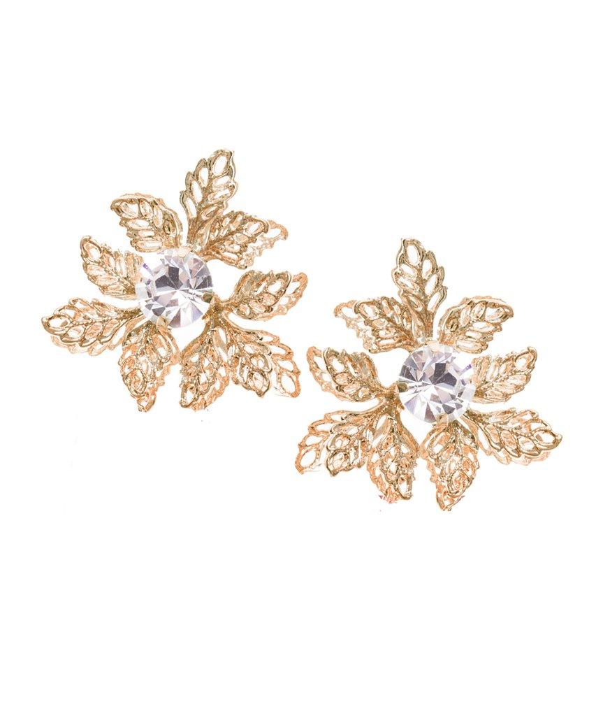 gold flower stud wedding earring