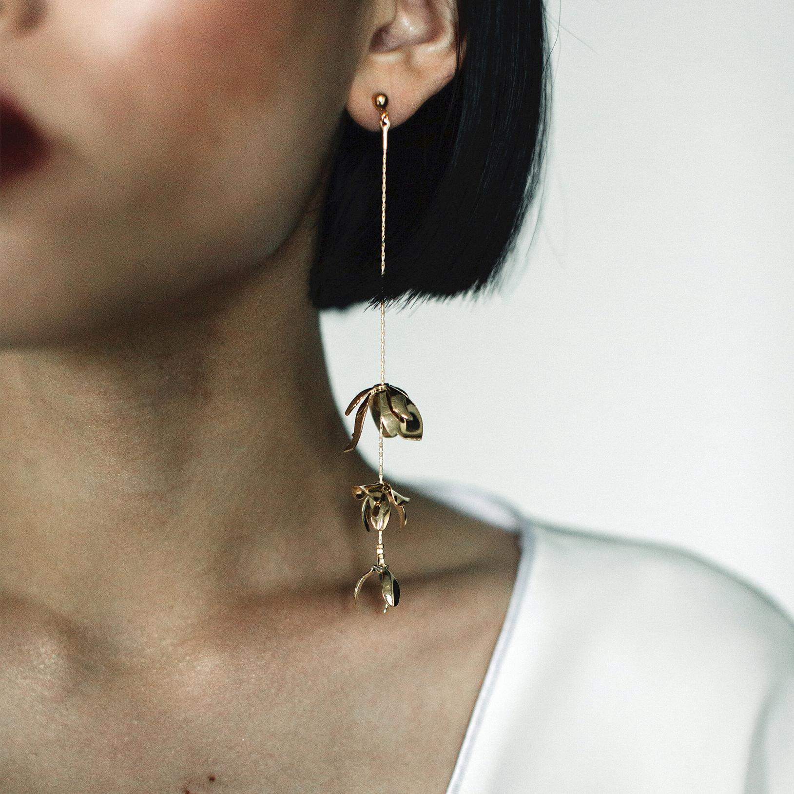 gold drop wedding earring
