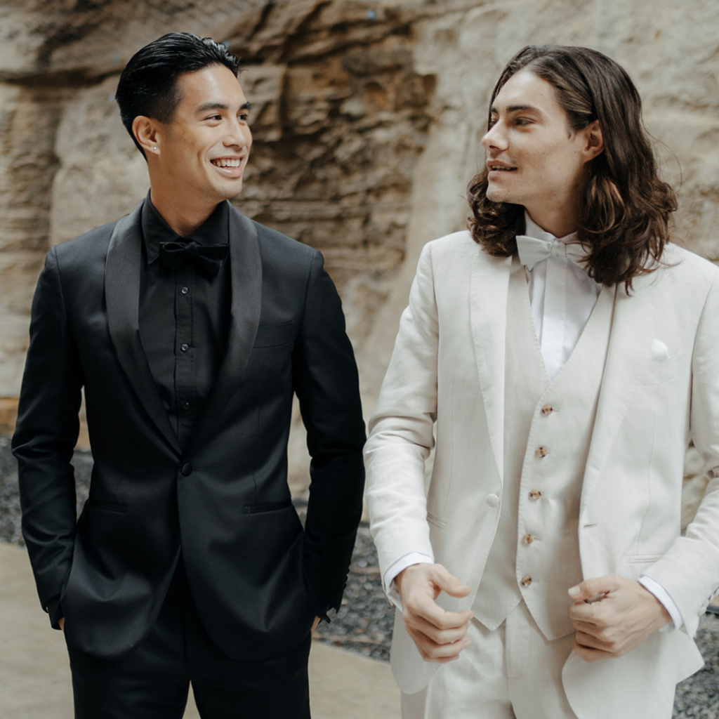 Wedding Suits - Groom In All Black Suit and All White Suit