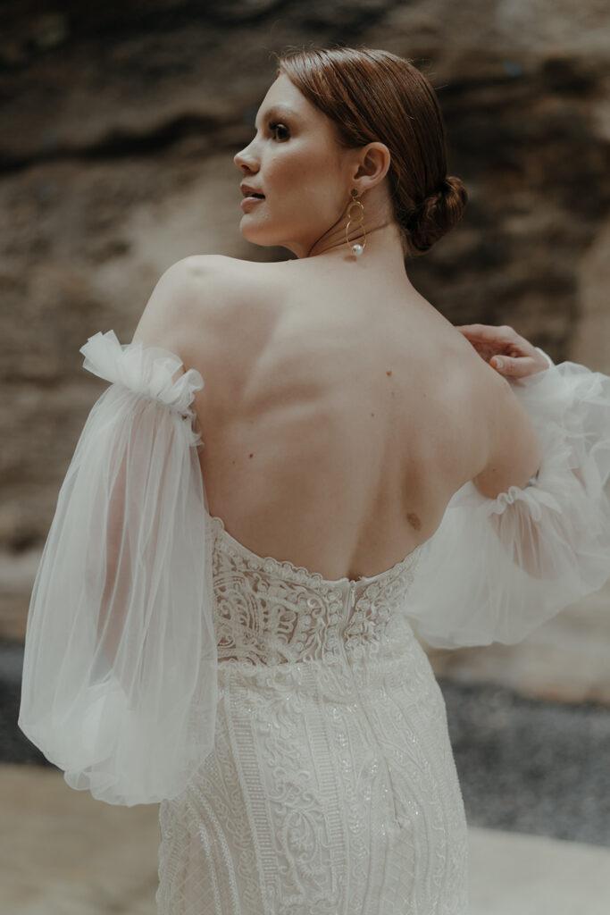 Wedding Accessories - Bride in Wedding Dress Back Pose